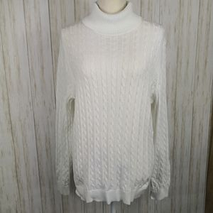 Lands End White cable knit turtleneck sweater XL